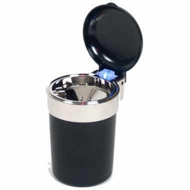 1x auto asbak zwart met led verlichting en klepje 11 x 9 cm
