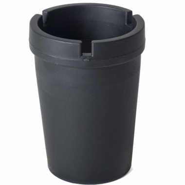 1x auto asbakken zwart 11 x 8 cm