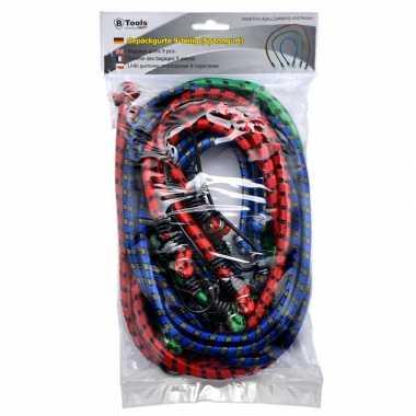 9x bagagespinnen/snelbinders groen/rood/blauw 60 / 80 / 100 cm