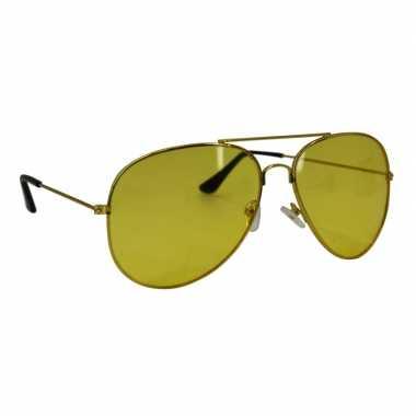 Nachtzicht piloten bril goudkleurig voor volwassenen