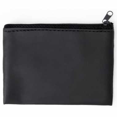 Zwarte portemonnee met sleutelhanger 10 x 7 cm